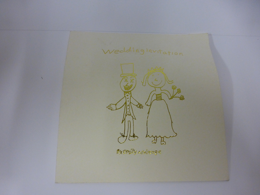 Gold Foiled Wedding Invite from hand drawn childs image