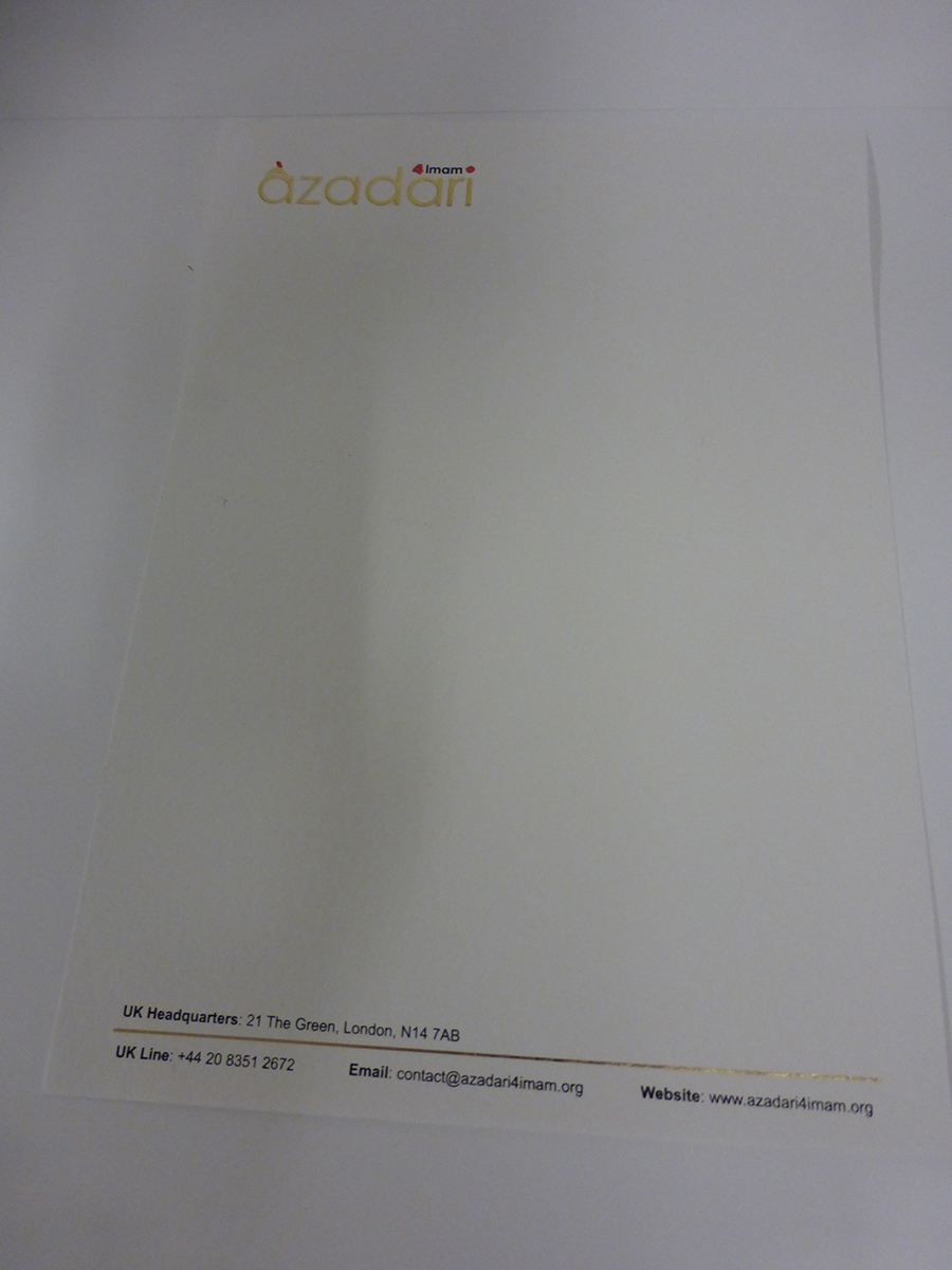 Letterhead A4 hot foiled printed & Embossed