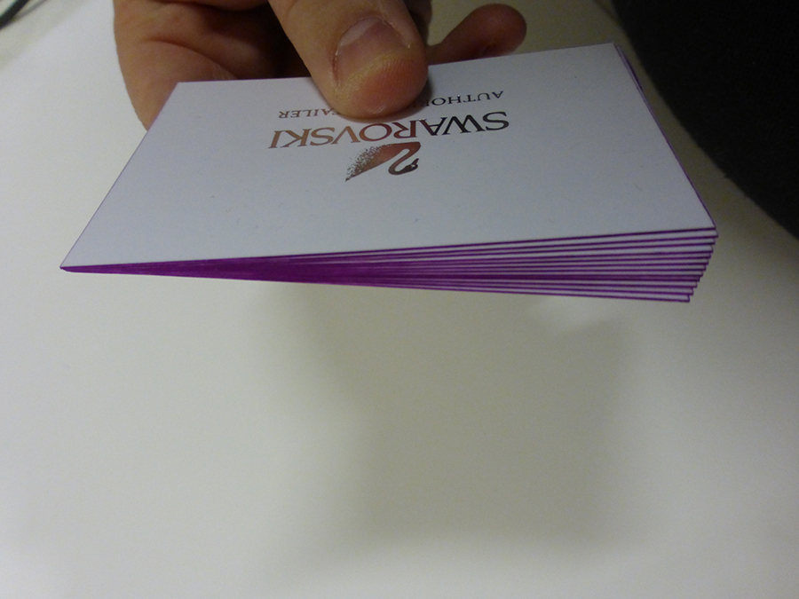 Purple Edge Painting on Business Cards