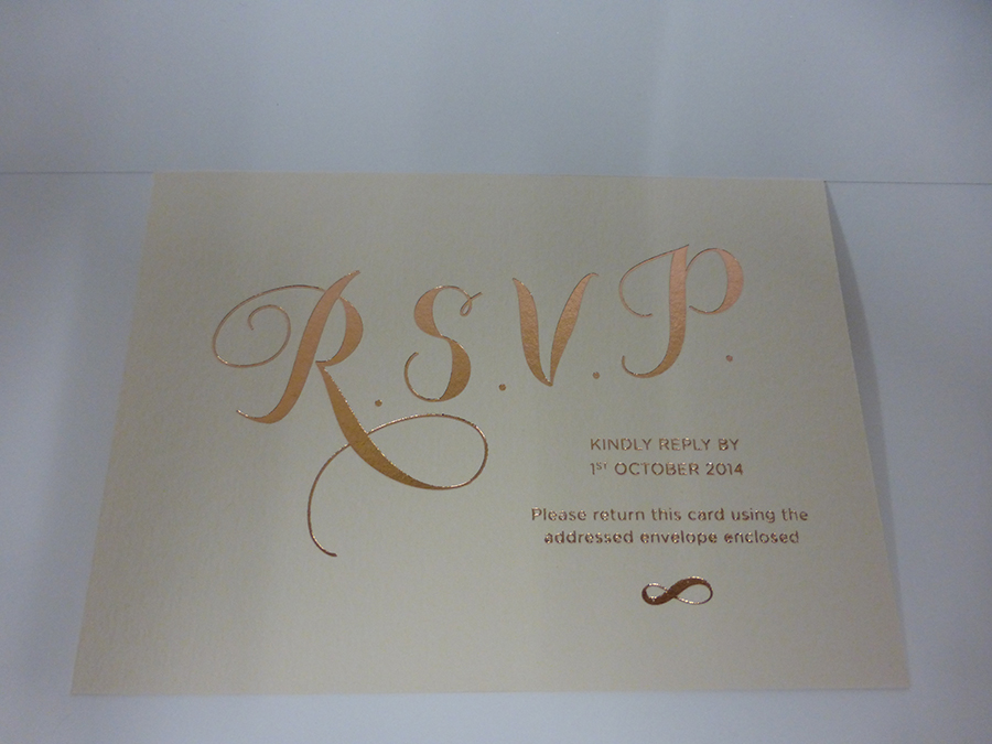 Rose Gold Foil Wedding RSVP on GF Smith Board