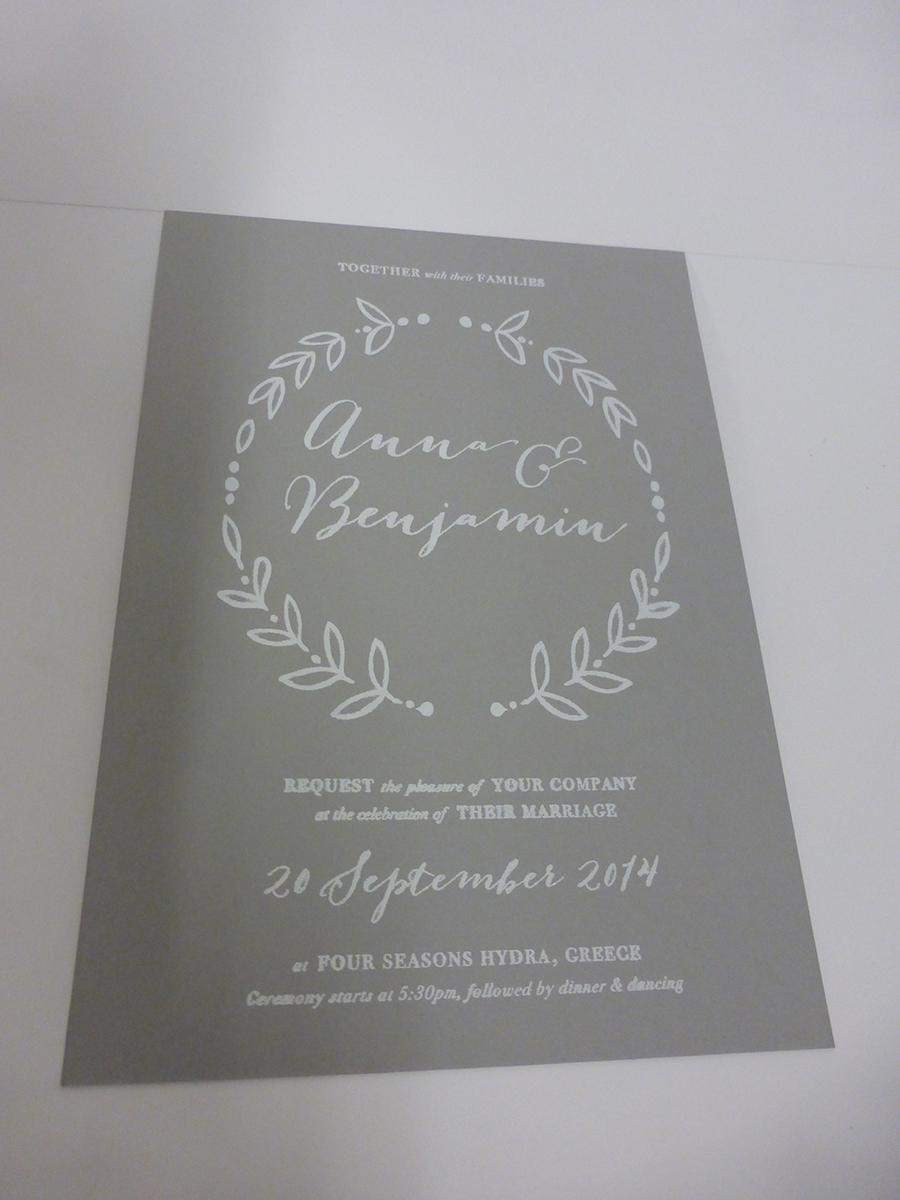 White Foiled Invite on GF Smith Board