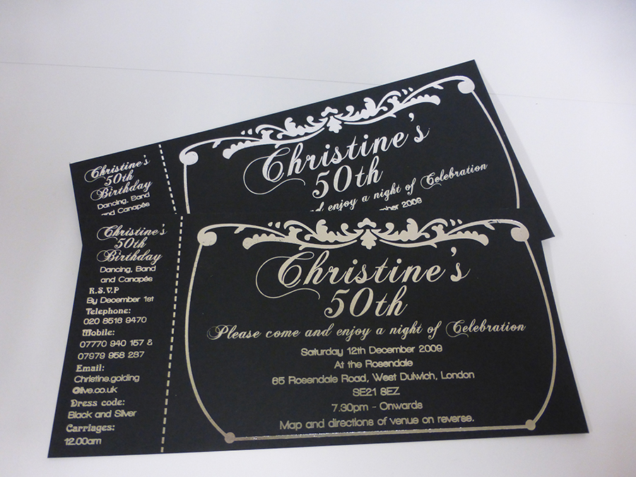 Silver Foil on 50th Birthday Invite
