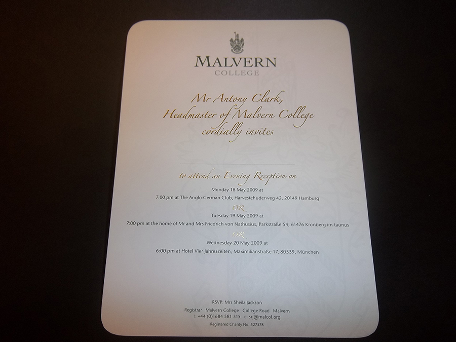 Invite Litho printed and Foiled Malvern School