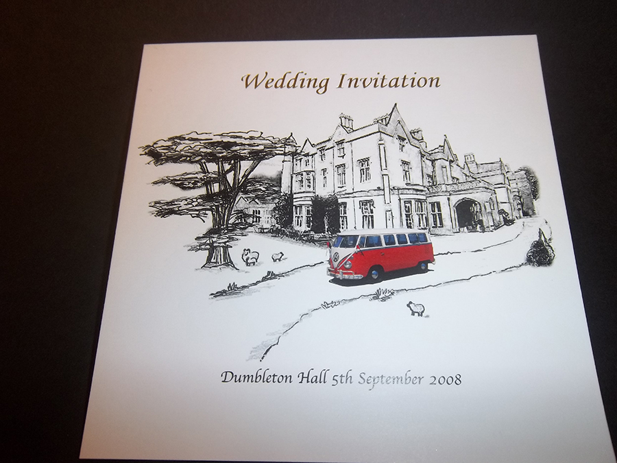 Wedding Invite Digitally printed and Foil printed in Silver
